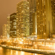 Stock Photo: Chicago downtown areat night