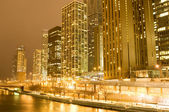 Chicago downtown area at night — 图库照片