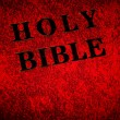 Red leather cover of the Bible book - Stock Photo