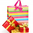 Striped gift bag isolated on the white background — Stock Photo #4352286
