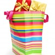 Striped gift bag isolated on the white background — Stock Photo #4352310