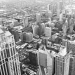 Chicago downtown area - vintage style black and white photo — Stock Photo
