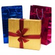 Bags and giftbox isolated on the white - Stock Photo