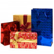 Bags and giftbox isolated on the white — Stock Photo