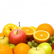 Various fruits isolated on the white background — Stock Photo