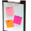 Open binder with post-it notes and blank page — Stock Photo