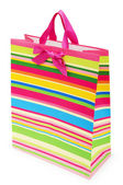 Striped gift bag isolated on the white background — Stock Photo