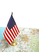 USA flag on the map against white background — Stock Photo