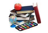 Back to scholl concept with books and school items — Stock Photo