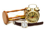 Time concept with watch, clock and hour glass — Stock Photo