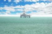 Plataforma de petróleo offshore baku en día nublado brillante — Foto de Stock