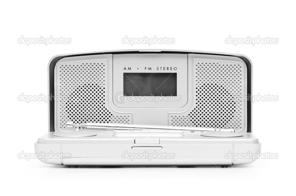 Silver radio isolated on the white background — Stock Photo #4351132