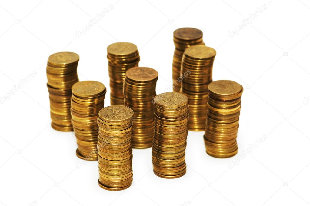 Golden coins isolated on the white background — Stock Photo #4357941