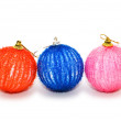 Three christmas balls isolated on the white — Stock Photo