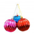 Christmas balls of various colours isolated on white — Stock Photo