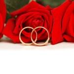dois anéis de casamento e rosas vermelhas isoladas no branco — Foto Stock