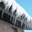 rad med istappar på en ljus vinterdag — Stockfoto
