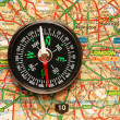 Compass over the map of UK - London suburbs — Stock Photo