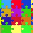Illustration with multi coloured puzzle elements — Stock Photo #4364113