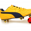 Soccer footwear and color football isolated on white — Stock Photo