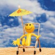 Stock Photo: Smilie enjoying sun at tropical island