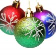 Three Christmas balls hanging - isolated on white — Stock Photo