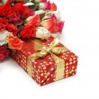 Stock Photo: Roses and gift box isolated on white