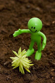 Gardening concept - Smilie looking after green seedlings — Stock Photo