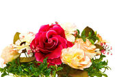 Bouquet of various flowers isolated on white — Stock Photo
