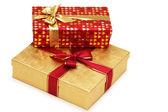 Deux boîtes isolés sur fond blanc-cadeaux — Photo