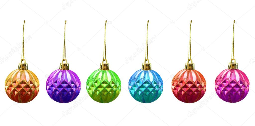 Christmas balls of various colours isolated on white  Stock Photo #4360421
