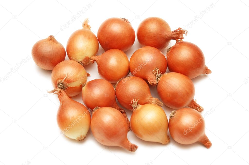 Lots of onions isolated  on white background — Stock Photo #4360736