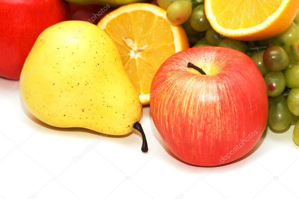 Apple and pear and other fruits  at background  Stock Photo #4360880
