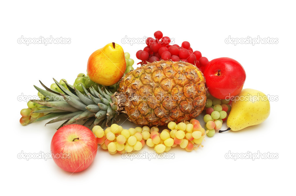 Various fruits isolated on the white background — Stock Photo #4361120