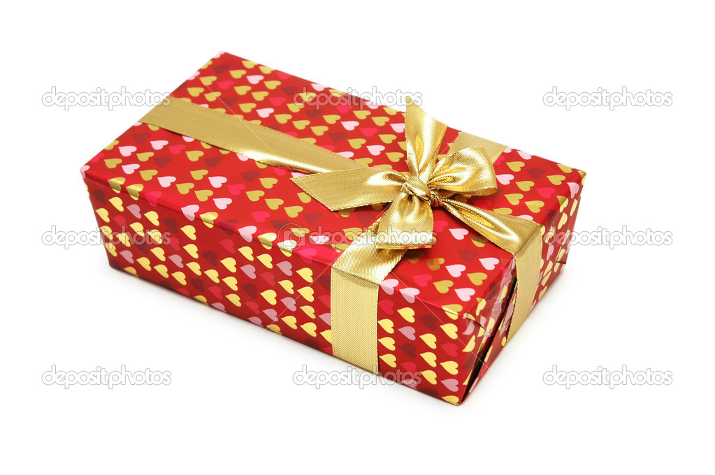 Gift box isolated on the white background — Stock Photo #4361577