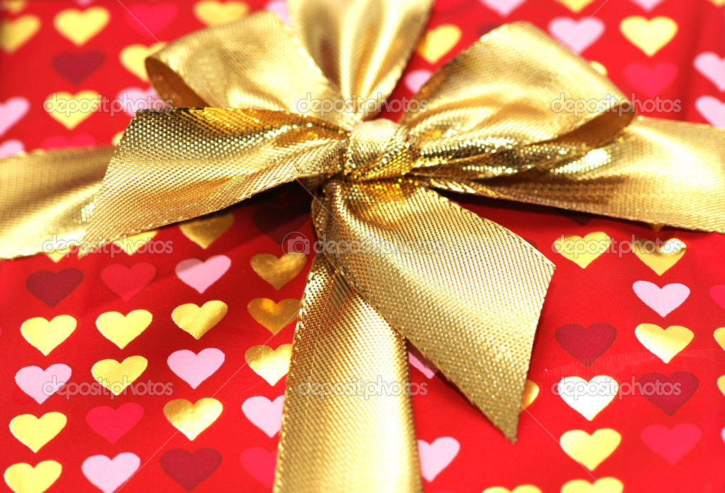 Close up of the shiny gift box  Stock Photo #4361855