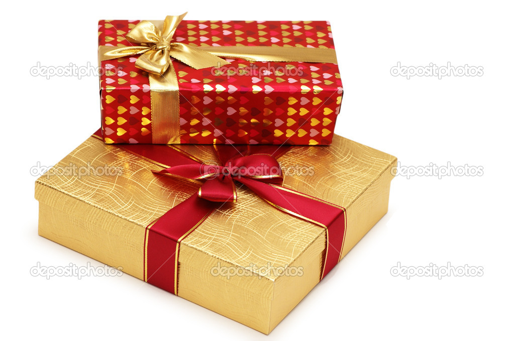 Two gift boxes isolated on white background  Stock Photo #4364600