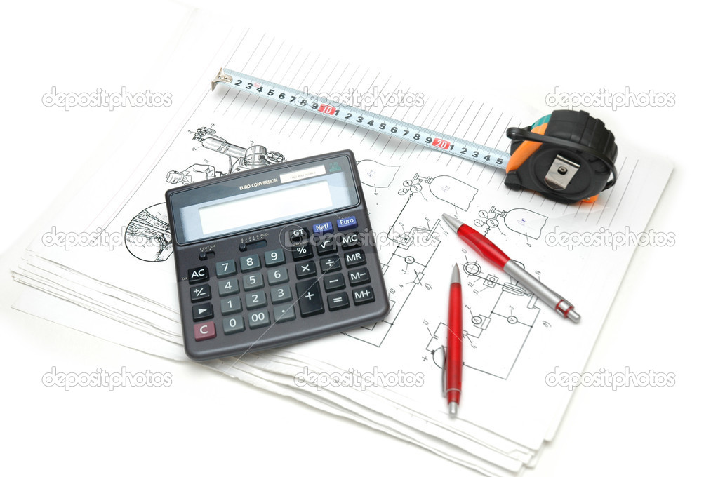 Calculator and pencils over the  engineering drawings  Stock Photo #4364708