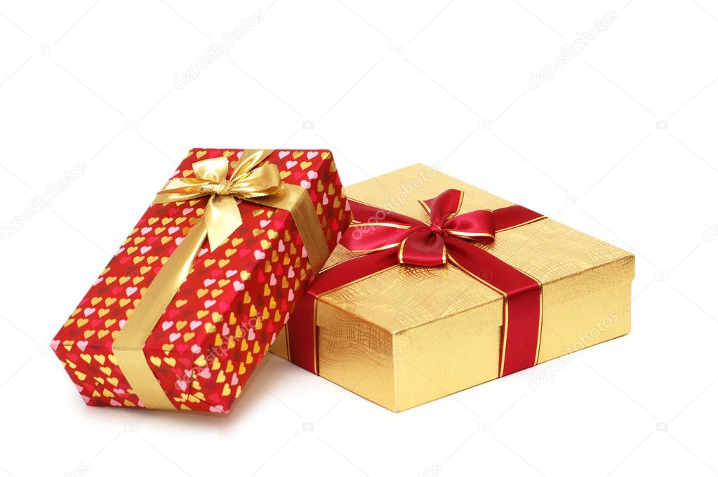 Two gift boxes isolated on white background — Stock Photo #4366158
