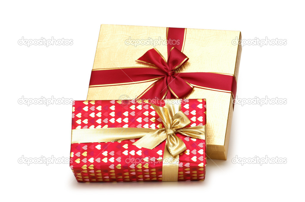 Two gift boxes  isolated on the white — Stock Photo #4366583