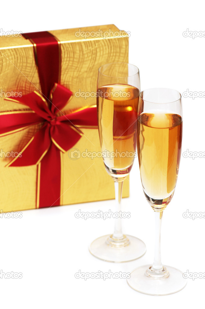 Giftbox and champagne isolated on the white  Stock Photo #4366664