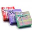 Three gift boxes isolated on the white — Stock Photo