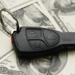 Car remote over hundred dollar banknotes — Stock Photo #4370926