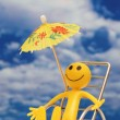 Smilie enjoying sun at the tropical island - Stock Photo