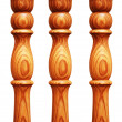 Wooden pilasters isolated on the white background — Stock Photo