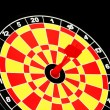 Stock Photo: Darts board with one arrow hitting bulls' eye