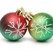 Two christmas balls isolated on the white — Stock Photo