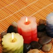 Three candles and stones for spa session — Stock Photo #4377309