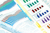 Business concept - business magazines with charts and diagrams — Stock Photo