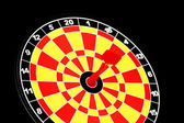 Darts board with one arrow hitting bulls' eye — Stock Photo